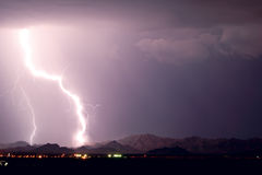 Super Massive Lightning Bolt over Tonopah Arizona 2013 Royalty Free Stock Image