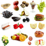Super mega. High quality collection of fruits and vegetables on white background royalty free stock photography