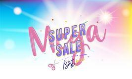Super Mega Sale Banner with font combination on the colour background with blur and light effects. Flat vector. Illustration EPS 10 Royalty Free Stock Photo