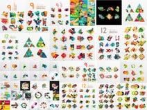 Super Mega- Satz der abstrakten geometrischen Papiergraphik stock abbildung