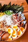 Chashu Pork Ramen. Super Mega Seafood and Chashu Pork Ramen royalty free stock photos