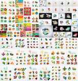 Super mega set of abstract geometric paper graphic Royalty Free Stock Photo