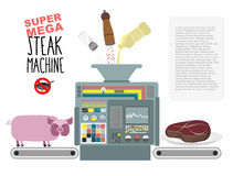 Super mega steak machine. Manufacturing system for release of me. At. No need to fry in a pan. Fill with oil, salt and pepper. Manufacture of fried pieces of Stock Images