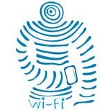 Super Mega Wi fi connection men Royalty Free Stock Image