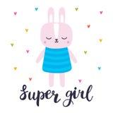 Super meisje Leuk weinig konijntje Romantische kaart, groetkaart of prentbriefkaar Illustratie met mooi manierkonijn Royalty-vrije Stock Afbeeldingen