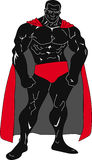 Super Mens met rode kaap Stock Foto's