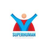 Super menselijk karakter - het vectorconcept van het bedrijfsembleemmalplaatje in vlakke stijl Het creatieve teken van de mensenh Stock Foto