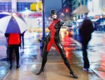 Super model superhero Manhattan street Royalty Free Stock Image