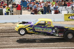 Super Modified Pulling Trucks wheels in the air. Bowling Green, OH 2,000 Horsepower Pulling Machines Stock Photography