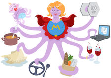 Super Mom. A Vector Illustration of an octopus mother dressed as a superhero and doing actions such as lifting weights, working on a laptop, having drinks