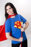 Super Hero Mom Mother Model Cleans With Broom Stock Photos