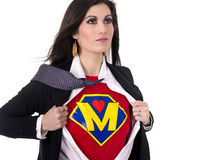 Super Mom Model Mother Megan Shows Chest Crest Royalty Free Stock Image