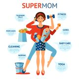 Super Mom Concept. Multitasking super mom concept with woman holding baby and housework objects in hands vector illustration Royalty Free Stock Photo