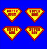 Super Mom, Dad, Girl and Boy Royalty Free Stock Images