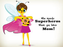 Super Mom. Funny Cartoon super mom bee on white background royalty free illustration