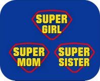 Super mom, girl, sister shield Stock Image