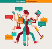 Super Mom - illustration of multitasking mother Stock Image