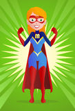 Super mom. Illustration of a super mom pose on spread powerful background Royalty Free Stock Image