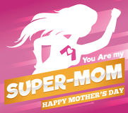 Super Mom Poster for Mother's Day Celebration, Vector Illustration Royalty Free Stock Photos