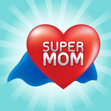 Super mom on red heart. Stock Images