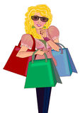 Super Mom shopping Stock Photo