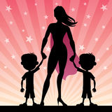 Super Mom With Twin Boys Stock Photography