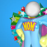Super Mom Woman in Cape and Uniform Strong Leader Royalty Free Stock Image