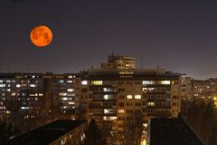 Super moon in romania Stock Photo