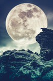 Super moon or big moon. Sky background with large full moon behind boulder. Cross proces style. stock photography