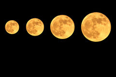 Super moon. On black background Royalty Free Stock Photography