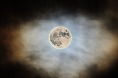 Super Moon 2016, bright, cloudy colored sky, close up Stock Photos