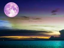 super moon cloud cold sky over sea Stock Photos