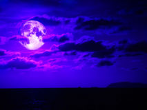 super moon and cloud moving in night sky Stock Photo
