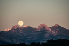Super Moon at the Mountain Stock Image