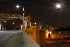 Super Moon over Bridge #1 Stock Photography