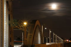 Super Moon over Bridge #3 Royalty Free Stock Photo