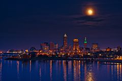 Super moon over Cleveland Stock Photos