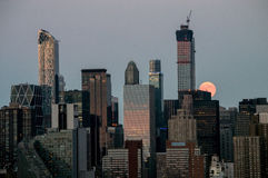 Super Moon Over Manhattan Royalty Free Stock Photo