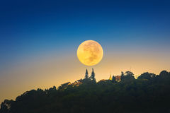 Super Moon over Wat Phrathat Doi Suthep Temple in Chiang Mai, Th Royalty Free Stock Images