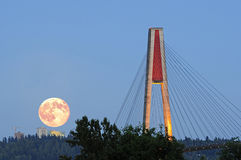Super moon rise and skytrain bridge at blue hour Royalty Free Stock Image