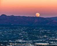 Super moon rising in Orange COunty royalty free stock photo