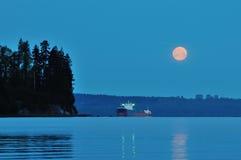 Super Moon Set at English Bay Royalty Free Stock Photos
