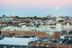 Super Moon and Sunset over an Aerial shot from North Fells Point royalty free stock images