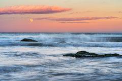 Super Moon and Sunset at Sozopol Town Beach Royalty Free Stock Photos