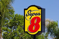 Super 8 Motel Sign. GILROY, CA/USA - MAY 26, 2014: Super 8 Motel Sign. Super 8 Motels is the world's largest budget hotel chain, with motels in the United States stock images