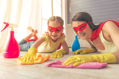 Super mother and daughter Royalty Free Stock Photography
