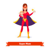 Super mother holding son in her arms. And baby milk bottle. Woman and her boy. Flat style vector illustration Royalty Free Stock Photography