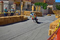 Super Moto Motorcycle Racing. Entering a bend during the Algueña motorcycle road race in Spain stock photo