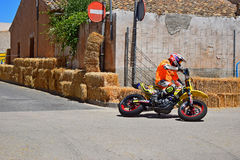 Super Moto Race. Exiting a one way street during the Algueña motorcycle road race in Spain stock image