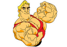 Super muscular bodybuilder. Illustration,color,logo,isolated on a white Stock Images